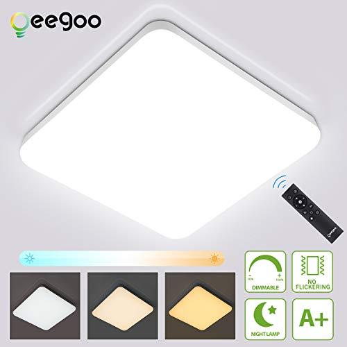 Oeegoo 36W LED Deckenleuchte Dimmbar, 3600LM IP54 LED Deckenlampe Dimmbar mit Fernbedienung, Helligkeit und Farbtemperatur Einstellbar, Flimmerfreie Wohnzimmerlampe, Schlafzimmerlampe