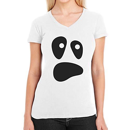 Witzige Ghoul Face Halloween Ghost Kostüme Damen Damen T-Shirt V-Ausschnitt Medium Weiß