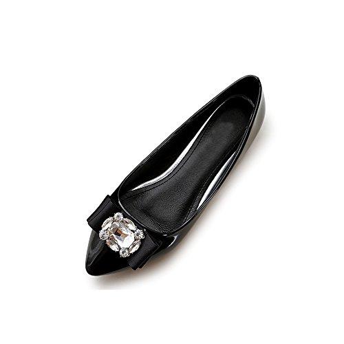 Femme Ballerines Plates En Cuir Verni Tete Pointue Mode Simple Poiture 34 - 45 Casual Chaussures Noir