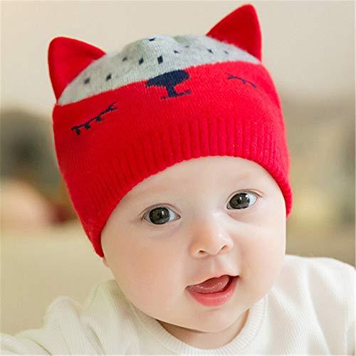 mlpnko New Baby Baumwollmütze Hüte für Jungen und Mädchen Baby Wollmütze Red Code (0-12 Monate)