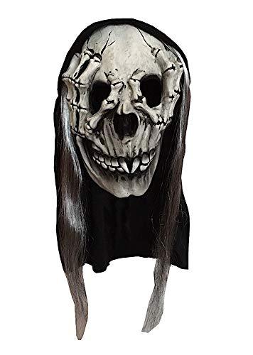shoperama Latex Maske Totenkopf Handknochen mit Kapuze und Haaren Halloween Horror Skelett-Hand Hände Skull Gevatter Tod