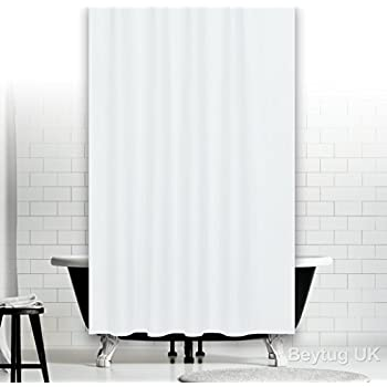 Bespoke Size Extra Long Plain White Fabric Shower Curtain 180CM Wide By  230CM Long, Weighted