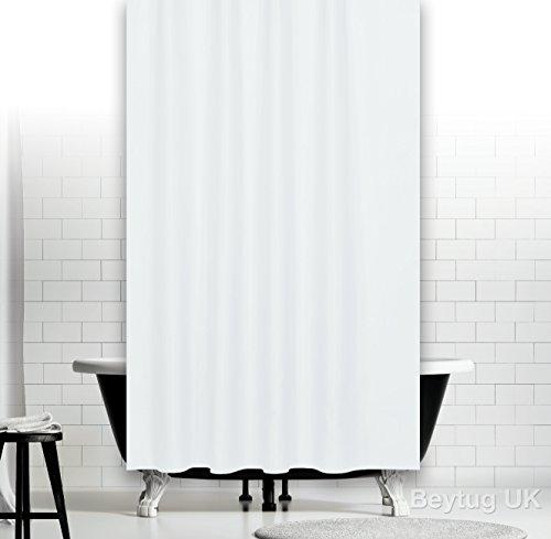 Rideau de douche, Polyester, 180cm x 230cm, Blanc Uni, Extra Long