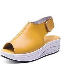 Hishoes Plataforma Sandalias Mujer Cuero Cuña Confort Peep Toe Tacón Zapatos Para Caminar Playa Sandalias del Verano