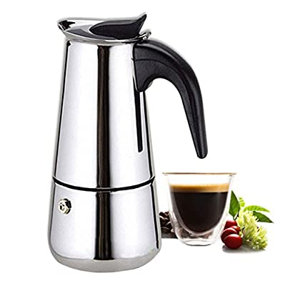 6-Cup Espresso Coffee Maker - Stovetop Espresso Maker / Italian Moka Coffee Pot by Kurtzy - Stainless Steel Coffee Percolator Stove top with Permanent Filter and Heat Resistant Handle from Kurtzy