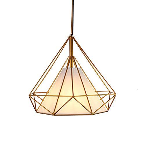 Gdtime Lámpara colgante E27 Moderna lámpara de techo Lámpara de aluminio para sala de estar Dormitorio Oficina Restaurante Cafe Bar Hotel Lámpara Comedor (Dorado-Blanco, 38CM)