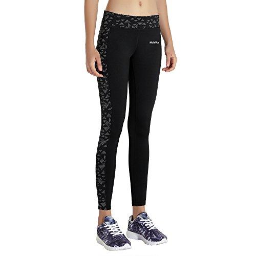 MOTORUN Pantalon Sport Femme Leggings Yoga Noir Pour Fitness - Taille L
