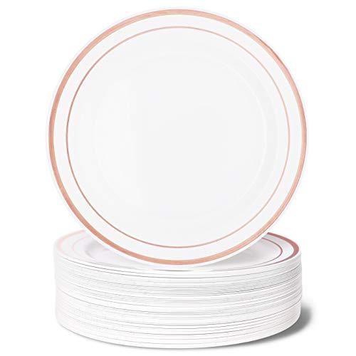 Einweggeschirr für Hochzeiten, Kunststoff, Weiß mit Roségoldrand 50-Piece Dinner Plates Rim Dinner Plate