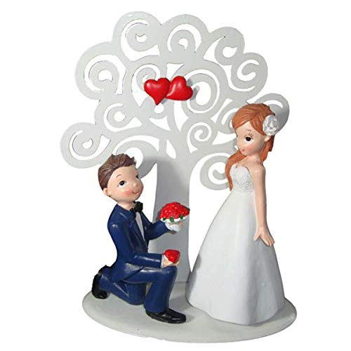 DISOK Figure Cake Boyfriends Ceramic with Metal Tree 22 cm - Pastel Figures Hearts for Original Weddings