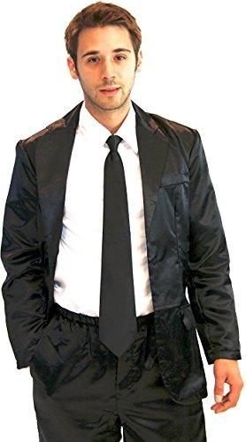 r Schwarz Seide Pajama Suit with Weiß Shirt (Schwarz) (Herren Large) (Barney Halloween Kostüme)
