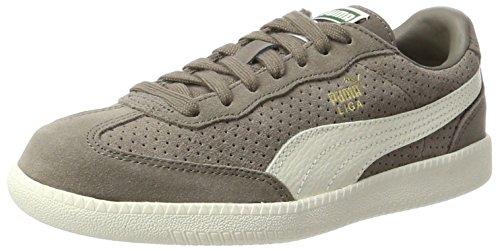 PUMA Unisex-Erwachsene Liga Suede Perf Sneaker, Beige (Falcon-Whisper White- Team Gold), 39 - Puma Suede Liga