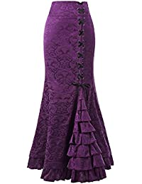 af3753d70ec4 Belle Poque Victorian Women's Steampunk Ruffled Skirt Jacquard Mermaid Maxi  Skirt