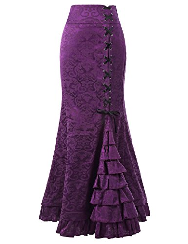 Belle Poque Mujer Retro Falda de Cola de Pescado Cintura Alta Jacquard Falda Larga Púrpura Talla 34 BP204-4