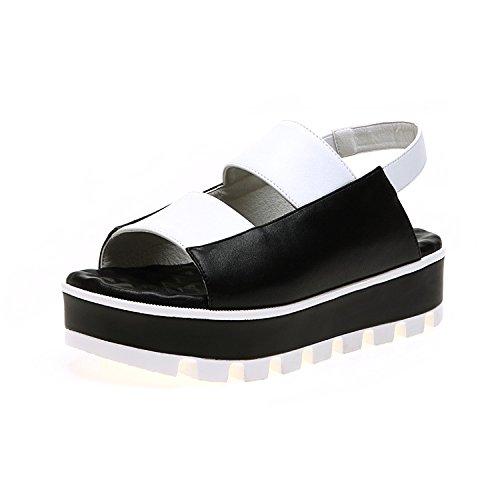 ZPPZZP Ms sandali rilassarsi in estate spessa e fondo piatto confortevole nero 35EU 35EU