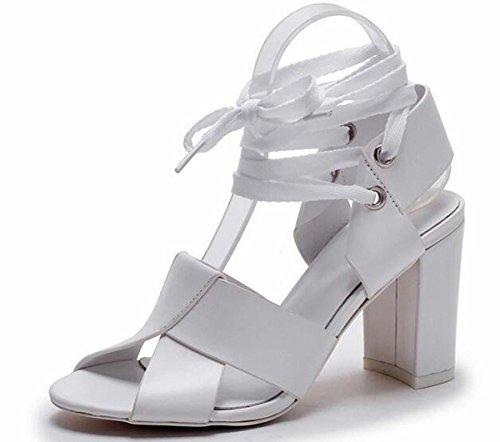 Beauqueen Pumps Casual Sandalen Frühling Sommer Frauen Scrub Tie Straps Mid Heel Einfache Elegant Schuhe Schwarz Weiß Europa Größe 34-39 , white , 37 (Scrub Disney Tops)