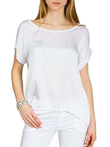 CASPAR BLU017 leichte Elegante Damen Seidenglanz Kurzarm Sommer Bluse Shirtbluse, Farbe:Weiss;Größe:XL/XXL -
