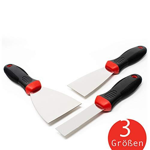 rokkel® Spachtel Set - 3 flexible und rostfreie Edelstahlklingen mit rutschfestem Griff zum Tapeten & Wände abkratzen