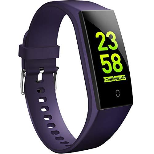 HOFIT Fitness Armband mit Pulsmesser,Wasserdicht Fitness Tracker Aktivitätstracker Pulsuhren Smartwatch Schrittzähler Uhr Schlafmonitor für Damen Herren(Blau)