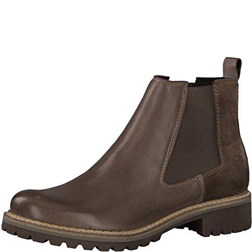 Tamaris Damen Chelsea Boots 25457-21,Frauen Stiefel,Halbstiefel,Stiefelette,Bootie,Schlupfstiefel,hoch,Blockabsatz 3cm,Taupe Comb,EU 39