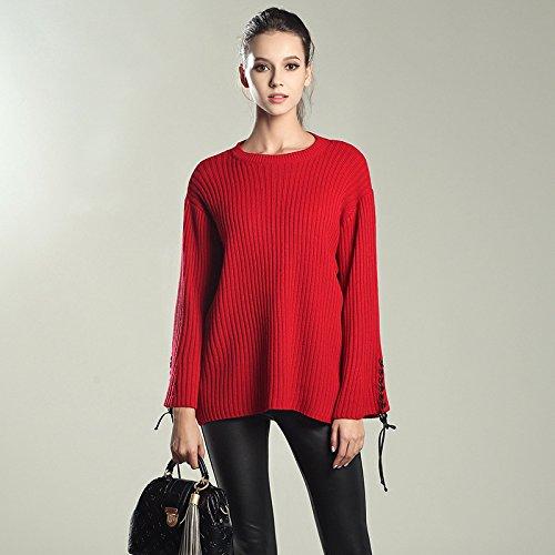 HY-Sweater Gestrickte Primer Shirt Herbst und Winter neue Frauen Trompete Ärmel Pullover Rundhals Europa und den Vereinigten Staaten lose, rot, alle Code