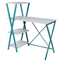 Vogue Computer Desk,White & Blue - H 109 cm x W 100 cm x D 50 cm