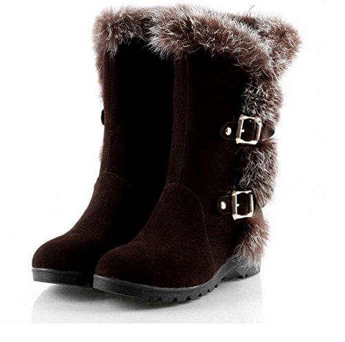 Frauen elegante Kaninchenfell Kragen Stiefel dicke Wolle warme Stiefel Schnalle Schneehang mit lässigen Stiefeln , brown , 36 (Ugg Schwarze Kurze Boots)