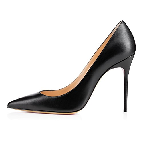 EDEFS Damen Spitz Zehe Pumps Stiletto Absatz 100mm Party Büro Schuhe Black