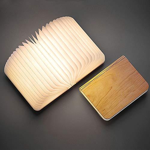 (Buch lampe,kdorrku Faltbare Buchlicht Stimmungsbeleuchtung,USB Akku Lithium Nachttischlampe Dekorative Lampen Tischlampe ,Nachtlicht Ölbildscheibe Papier+ Holz Einband Warmweiß Licht 2500 mAh)