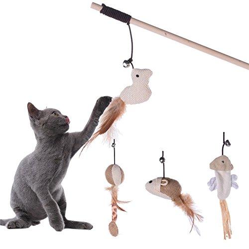 LianLe Katze Spielzeug Katzenangeln Spielangel Maus Form mit Glocke Federn Interaktiv Erregen (Maus)