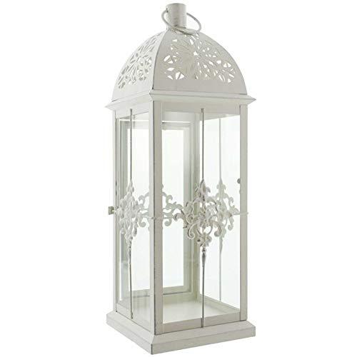 SIDCO Metall Laterne Barock weiß Gartenlaterne Windlicht Kerzenhalter Deko Vintage