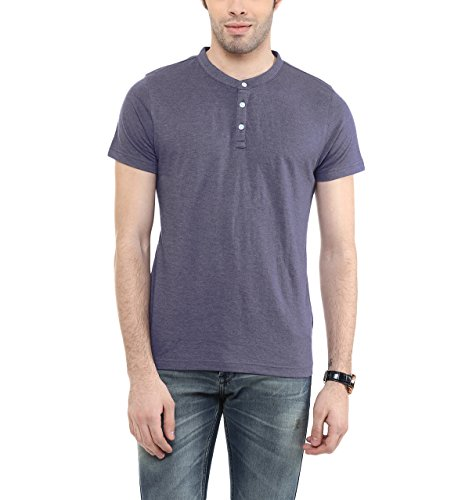 American-Crew-Mens-Henley-Half-Sleeve-Solid-T-Shirt-Purple-Melange