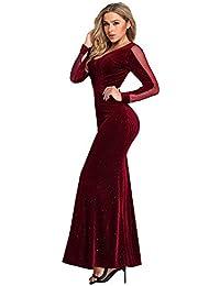 5ed34e32d Ever-Pretty Vestido de Fiesta Noche V-Cuello Purpurina Brillante para Mujer  Larga Sirena