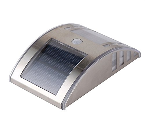 LT&NT Luci solari esterne impermeabili in acciaio inox a parete a LED giardino luci sensore paesaggio percorso illuminazione-A