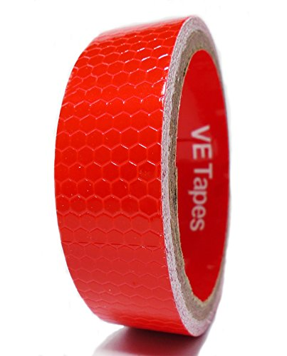 VE Tapes Langlebig Wasserdicht Rot High Intensität Grade Vinyl reflektierendes Klebeband 25 mm x 2,5 m