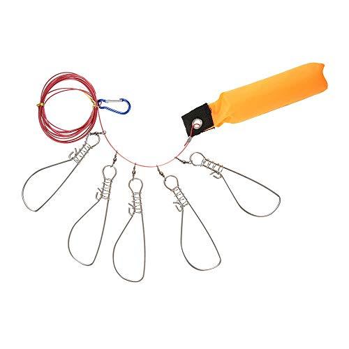 Haiyemao Weiche Gummiperlen zum Angeln Edelstahl Angeln Stringer Fish Lock 5 Snaps Lanyard Seil Schnur mit Float Angelgerät Zubehör Angelperlen aus weichem Gummi für Angler -