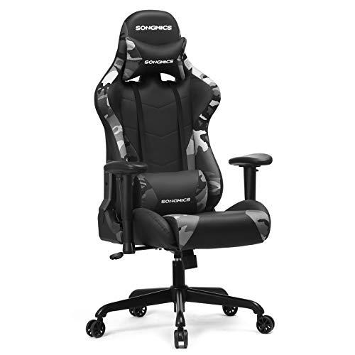 SONGMICS Gaming Stuhl 150 kg, Bürostuhl, Schreibtischstuhl mit Lendenkissen, Stahlgestell, hoher Rückenlehne und breiter Sitzfläche, höhenverstellbar, ergonomisch, Kunstleder, Tarnfarbe RCG42GY