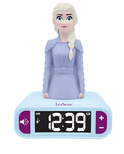 Lexibook- Veilleuse Reine des Neiges 2, Elsa Lumineuse, Effets sonores Disney Frozen, Réveil pour Enfant, Snooze, Couleur Bleue, RL800FZ