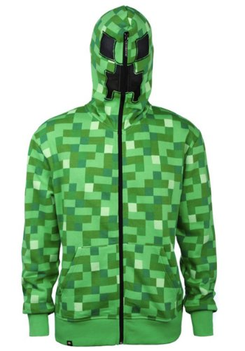 Minecraft Creeper Zip-up Hoodie Kapuzenjacke mit Creeper Kapuze u Game Logo - (Hoodie Creeper)