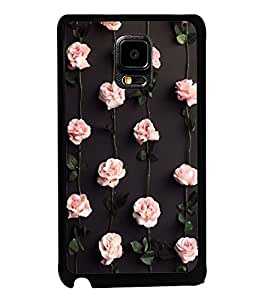 Fuson Premium 2D Back Case Cover Beautiful pink Roses With Red Background Degined For Samsung Galaxy Note Edge::Samsung Galaxy Note Edge N915