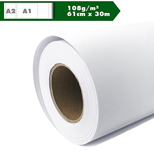 Plotterpapier Rolle matt 108 g/m² 61 cm x 30 m A1 A2 Inkjet Plotter gestrichenes Universalpapier wasserdicht, geeignet für Dye-und Pigmentfarben