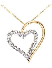 Naava Damen-Kette mit Anhänger 375 Weißgold 9 K Rhodiniert Diamant Rundschliff 0,06 ct