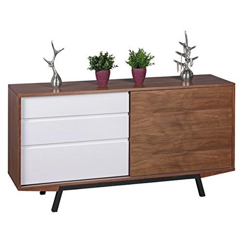 WOHNLING-Kommode-in-Walnuss-Optik-mit-weien-Schubladen-Sideboard-MDF-Retro-160-cm-mit-Schiebetr-Dielen-Schlafzimmer-Kommode-Flurmbel-Skandinavisch-Anrichte-50er-60er-Jahre-Wohnzimmer-Mbel