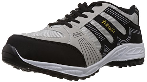 A-Star Men's Grey and Black Running Shoes - 9 UK (AS-8003)