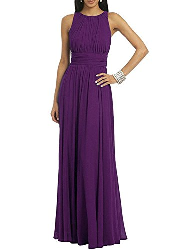 Azbro Women's Sleeveless Solid Pleated Long Prom Dress purple