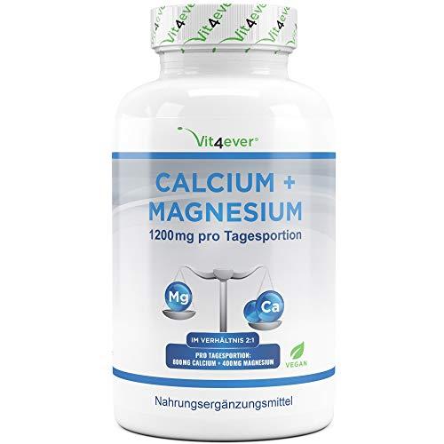 Vit4ever® Calcium 800 mg + Magnesium 400 mg (2 Tabletten) - 360 Tabletten - 6 Monatsvorrat - Kalzium + Magnesium-Komplex im Verhältnis 2:1 - Vegan - Laborgeprüft - Hochdosiert -