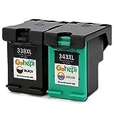 Gohepi 338XL/343XL Compatible pour Cartouches HP 338XL 343XL, 1 Noire/1 Tri-couleur...