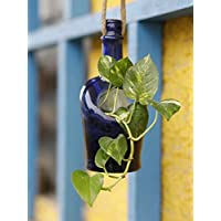 Kavi The Poetry-Art Project Recycled Bottle Hanging Planter, Plant Holder Container for Home Garden (Blue)