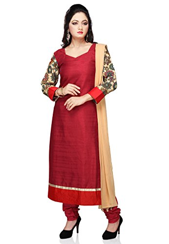 Utsav Fashion Women's Maroon Art Bhagalpuri Silk Churidar Kameez-