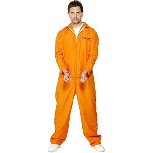 stüm Sträfling Orange L 52/54 Sträflingskostüm Kostüm Häftling Psycho Gefangener Ausbrecher Knasti Insasse Knastbruder ()