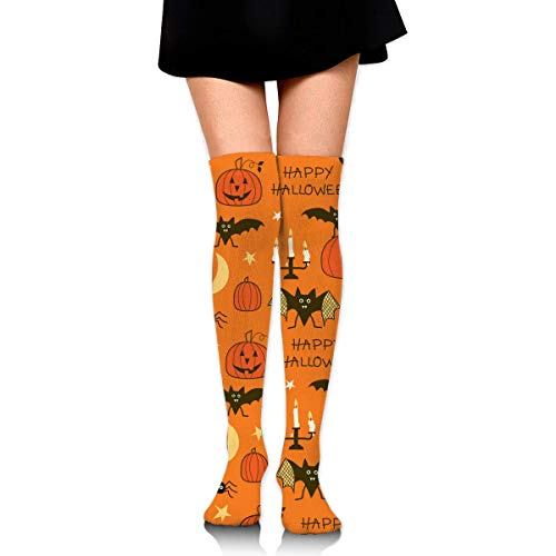 HiExotic Strümpfe Breathable Classic Warmer Tube Leg Stockings Happy Halloween Party Patterns Exotic Psychedelic Print Compression High Tube Thigh Boot Stockings Knee High Women Girl